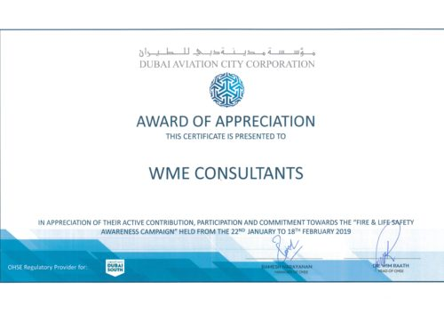 WME win Award of Appreciation from Dubai South